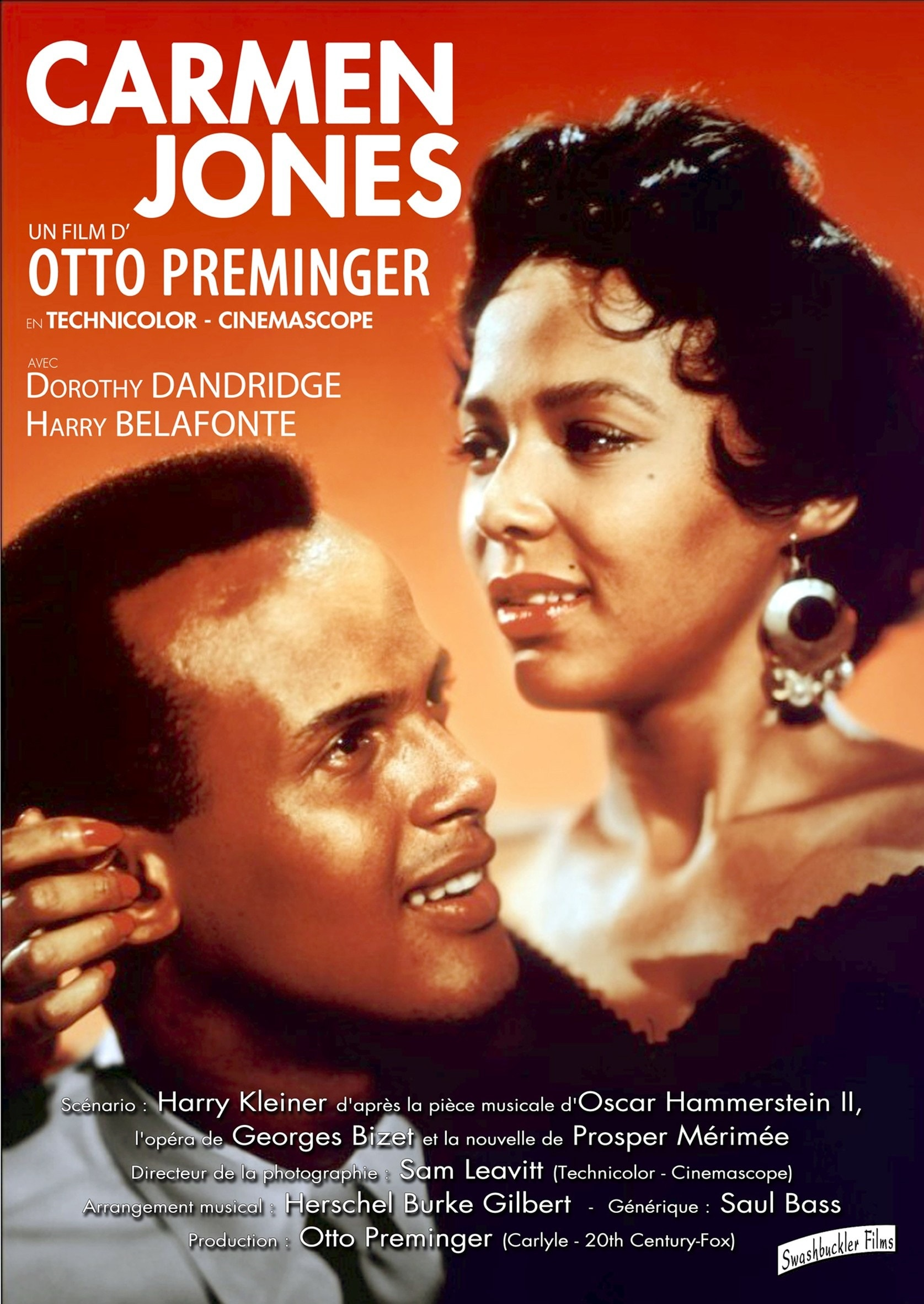 1558941655078_carmenJones_54.jpg - Nella locandina del film Carmen Jones,  Harry Bellafonte e Dorothy Dandridge, 1954