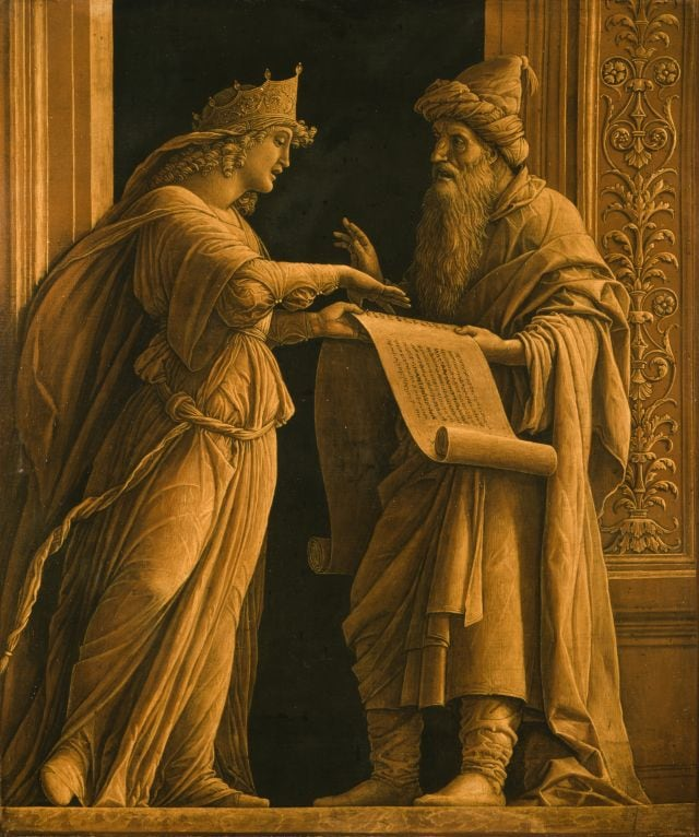 1571902798891_7.jpg - Andrea Mantegna. Una sibilla e un profeta, 1495 ca. Tela dipinta, 56,2 x 48,6 cm. Cincinnati Art Museum, Ohio, USA. Bequest of Mary M.Emery/Bridgeman Images